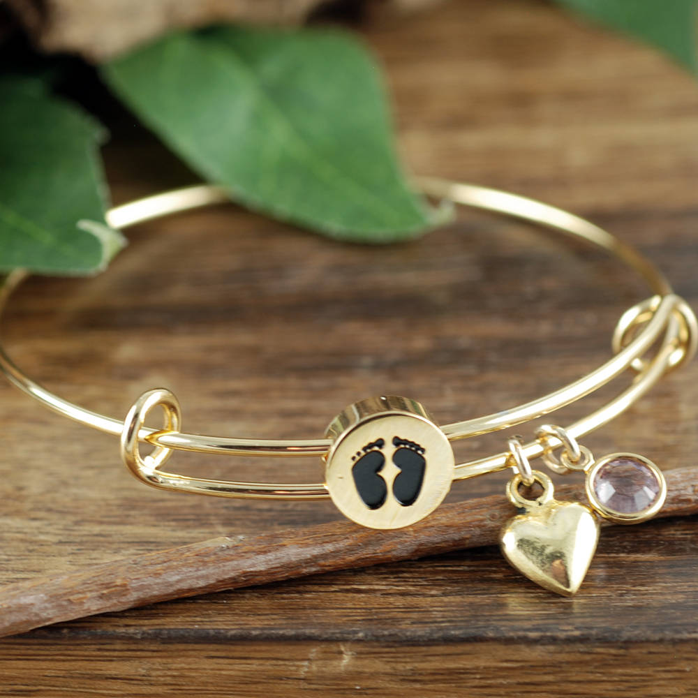 Baby Feet Birthstone and Heart Bangle Bracelet - Choose a Metal