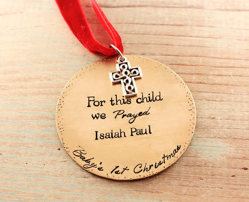 For This Child We Prayed Ornament