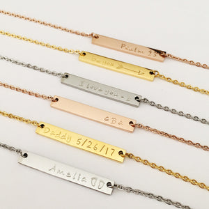 Bar Necklaces- Choose Your Metal