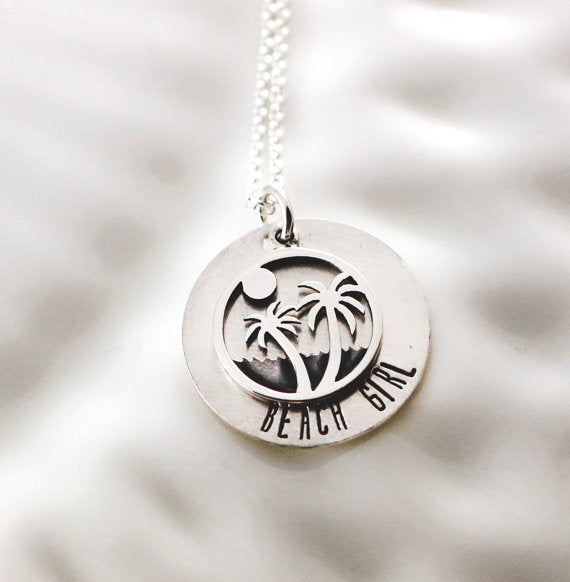 Beach Girl Silhouette Necklace