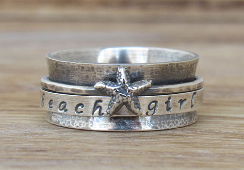 Beach Sterling Silver Spinner Ring