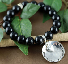 Load image into Gallery viewer, Beaded Sterling Silver Names and Heart Bracelet