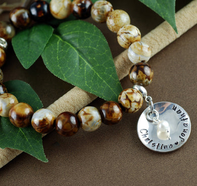 Beaded Sterling Silver Names and Pearl Bracelet