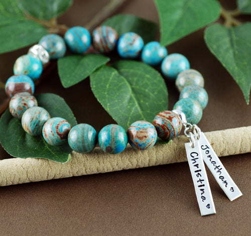 Beaded Sterling Silver Name Tags Bracelet