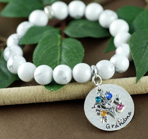 Beaded Sterling Silver Birthstone Tree Bracelet