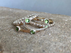 Sterling Silver Delicate Beaded Birthstone Ring