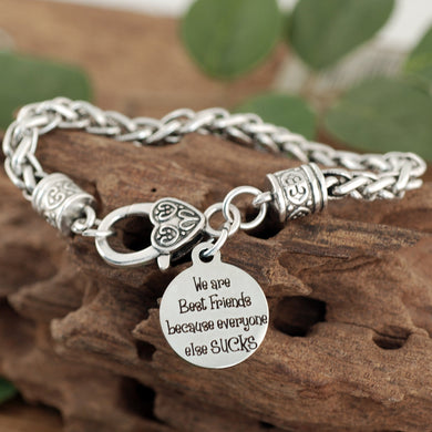 Best Friends Antiqued Silver Bracelet