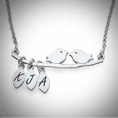 Sterling Silver Bird Initial Necklace