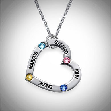 Sterling Silver Heart Birthstone Necklace (1-4 names)