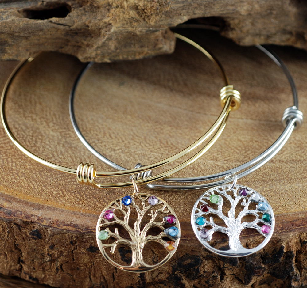 Birthstones In Family Tree Bangle Bracelet