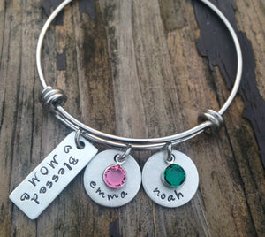 Blessed Mom Bangle Bracelet