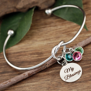 My Blessings Knot Birthstone Bracelet - Silver, Gold, Rose Gold