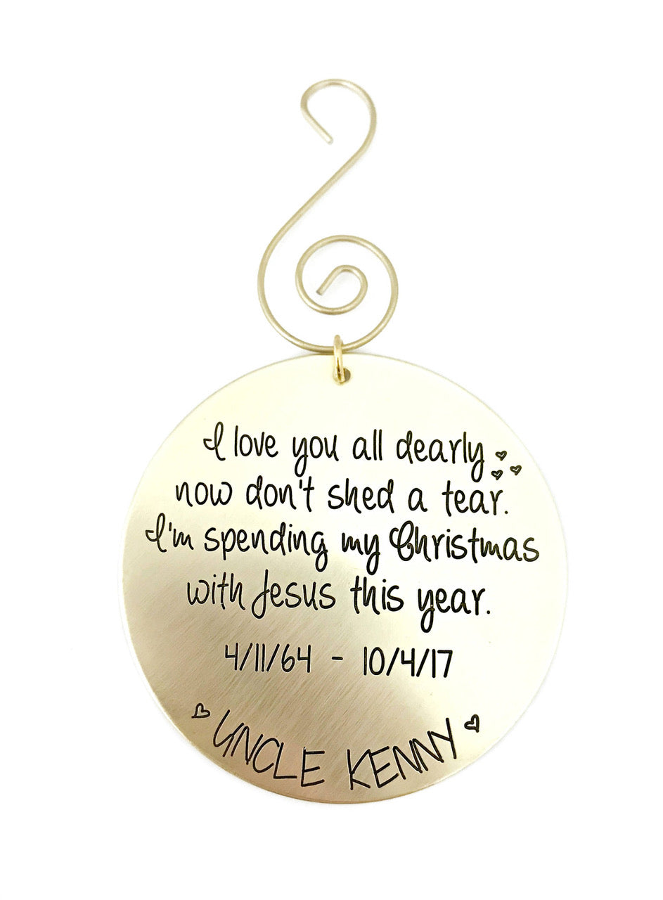 Brass I Love You All Dearly Memorial Ornament