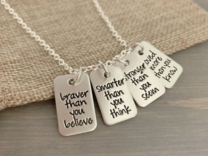 Customizable Four Rectangle Saying Necklace