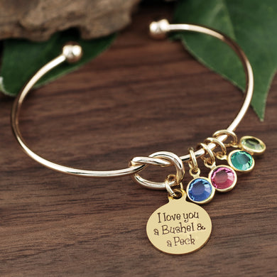 Bushel And a Peck Knot Birthstone Bracelet - Silver, Gold, Rose Gold