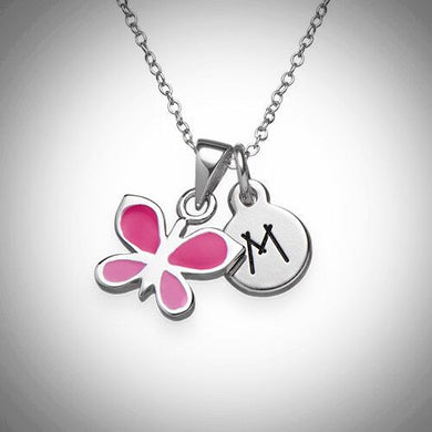 Pink Butterfly Initial Necklace