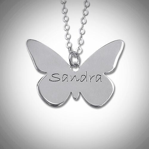 Sterling Silver Personalized Butterfly Necklace
