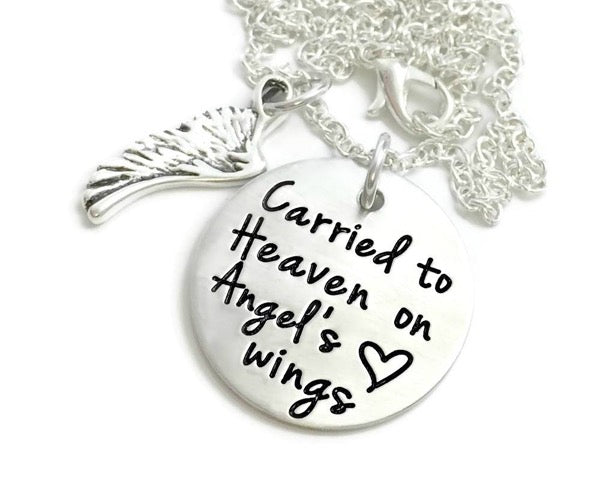 Carried To Heaven On Angel's Wings Necklace