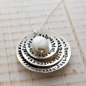 Triple Disc Domed Necklace with Coin Pearl