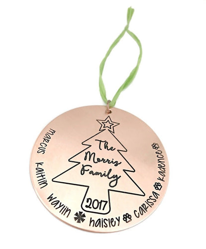 Copper Family Christmas Tree Ornament