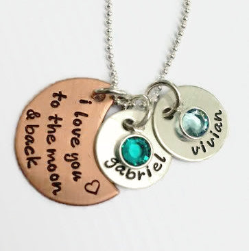 Mixed Metal I Love You To The Moon and Back Necklace with Birthstones