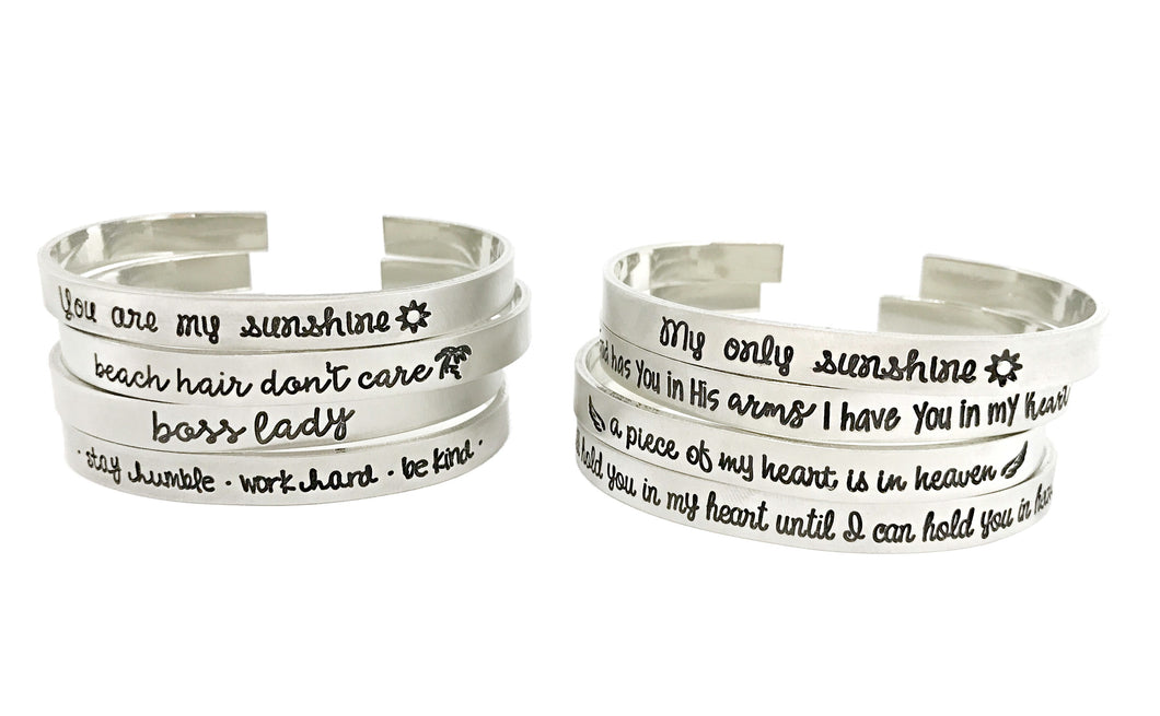 Cuff Bracelets- Choose a Saying