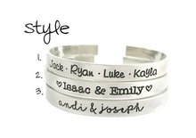 Load image into Gallery viewer, Personalized Names Cuff Bracelets