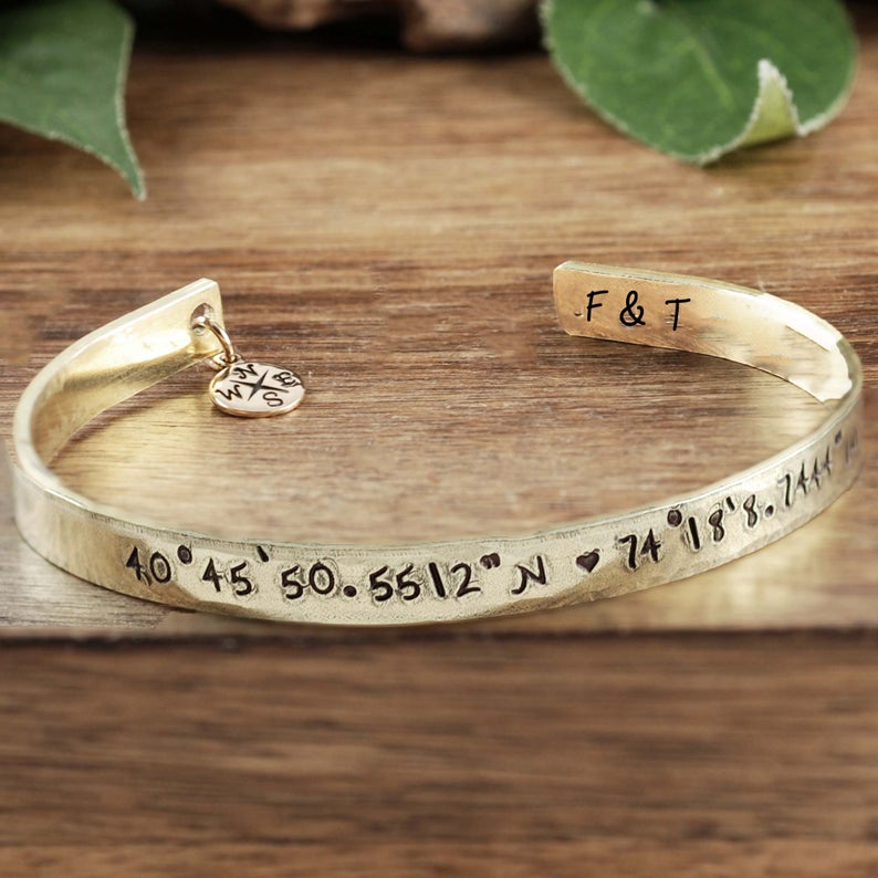 Custom Coordinates Cuff Bracelet - Choose A Metal