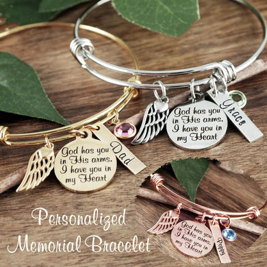 Custom Memorial Bangle - Choose A Color