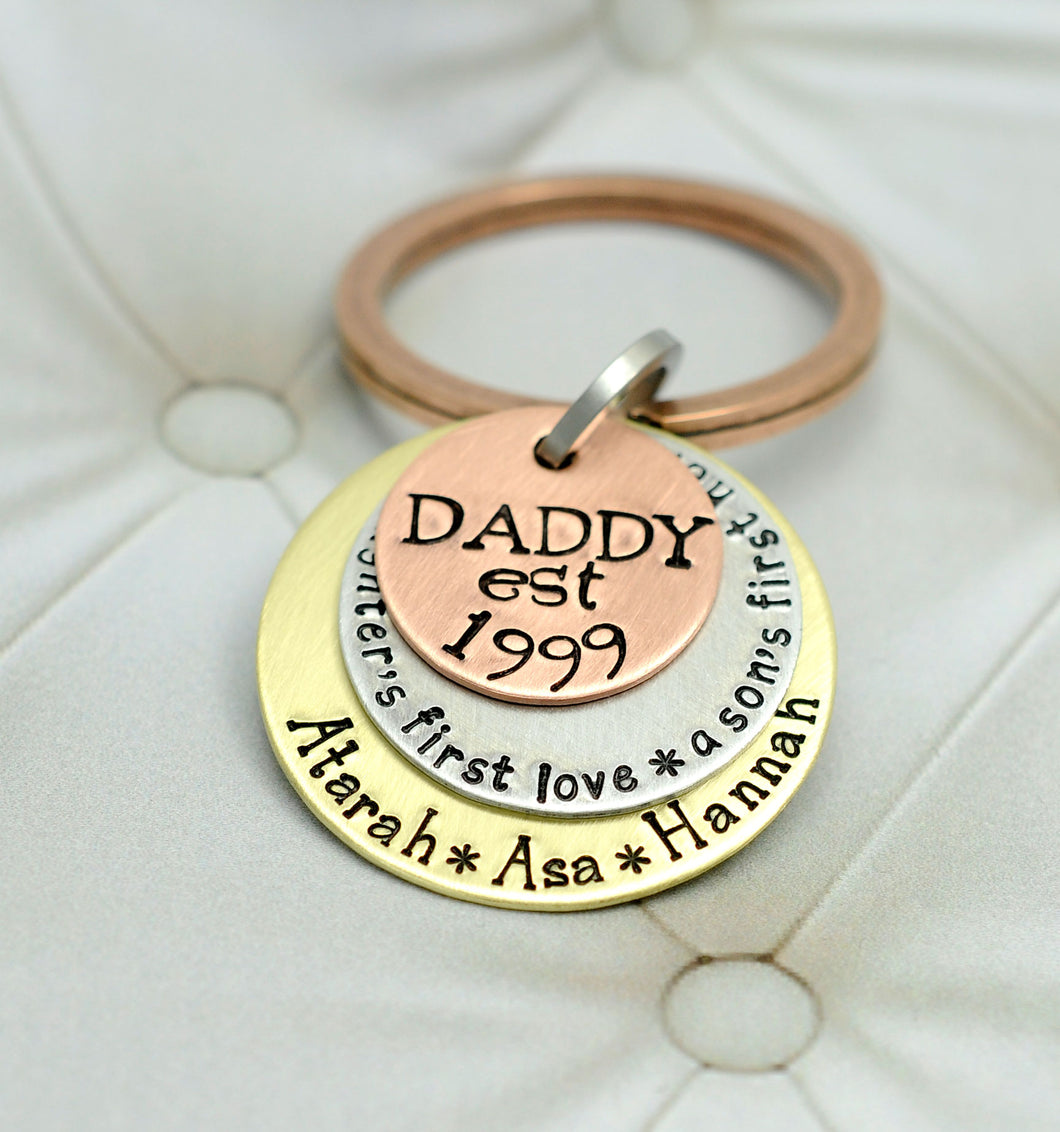 Mixed Metal Daddy and Daughter and Son Keychain