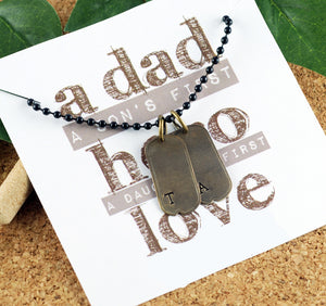Dad Initial Tags Keepsake Necklace
