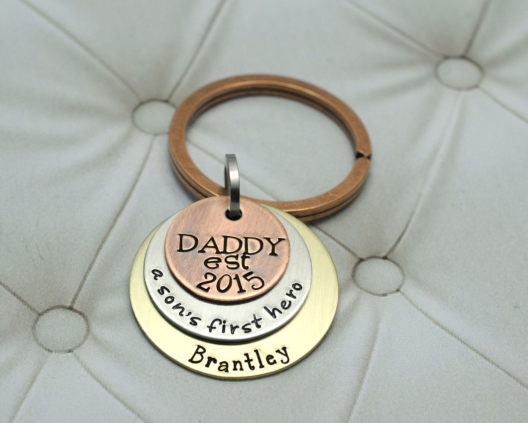 Mixed Metal Daddy and Son Keychain