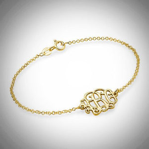 Sterling Silver or Gold Petite Monogram Bracelet