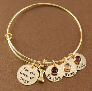 For The Love Of Dogs Gold-Tone Bangle Bracelet