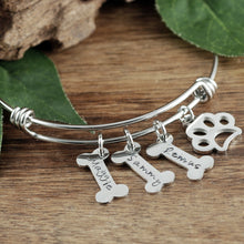 Load image into Gallery viewer, Personalized Dog Bone Bangle Bracelet