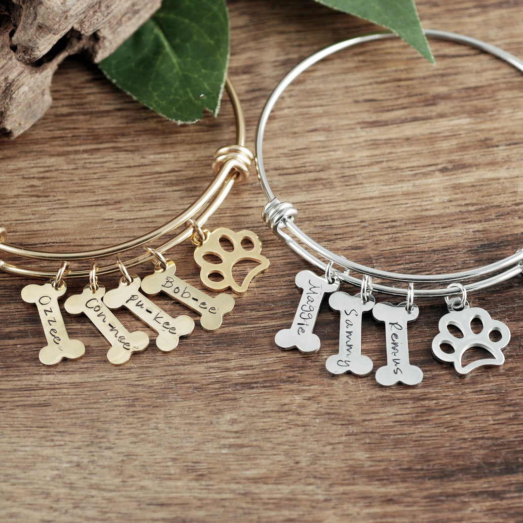 Personalized Dog Bone Bangle Bracelet
