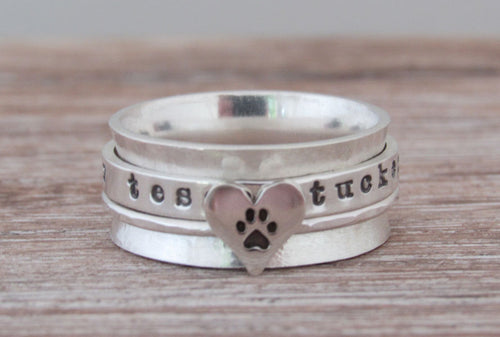 Sterling Silver Paw Print Spinner Ring