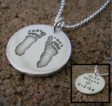 Baby's Actual Footprint Necklace (Double-Sided)