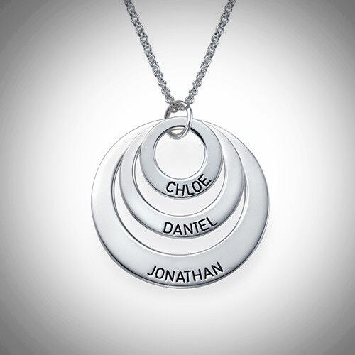 Sterling Silver Engraved Three Loop Necklace