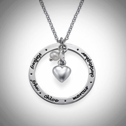 Sterling Silver Loop With Heart Necklace