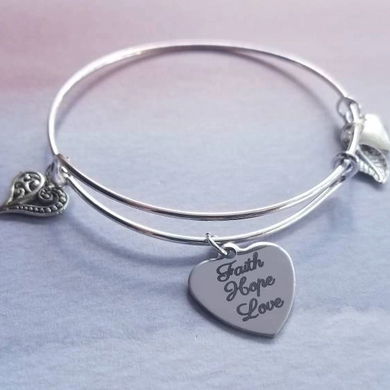 Faith, Hope, Love Bangle Bracelet