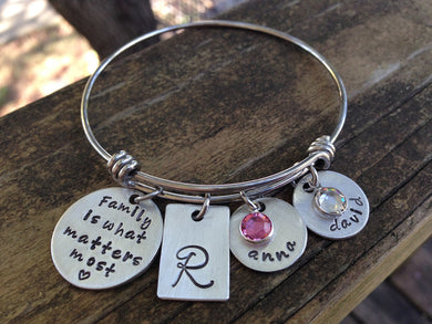 Family Is What Matters Most Bangle Bracelet 3