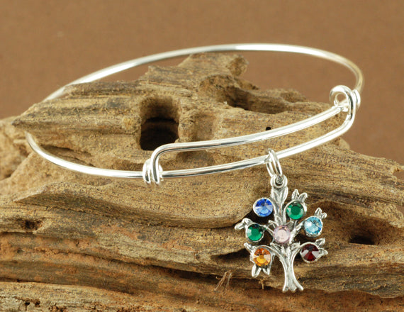 Family Birthstone Tree Bangle Bracelet