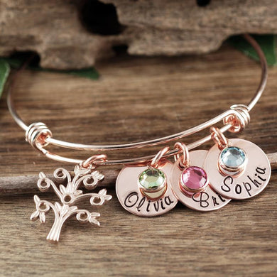 Family Tree Bangle Bracelet With Name Charm - Choose a Color
