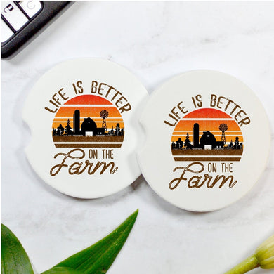 Life Is Better On The Farm Car Coasters