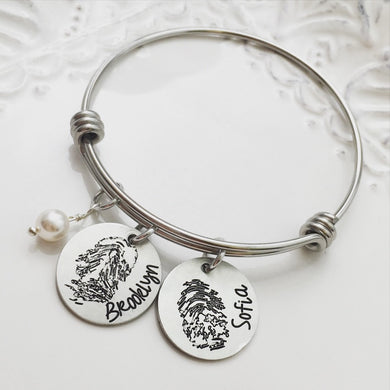 Actual Fingerprint Bangle Bracelet