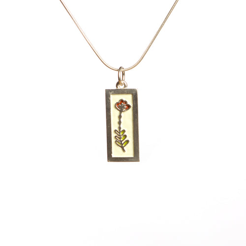 Sterling Silver and Enamel Flower Necklace