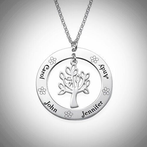 Sterling Silver Family Tree with Flowers Necklace