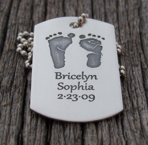 Baby's Actual Footprint Dog Tag with Name