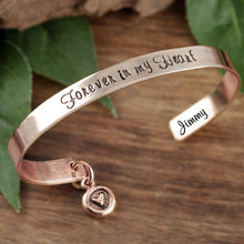 Load image into Gallery viewer, Personalized Cuff Bracelet With Round Heart Dangle Charm- Choose A Metal